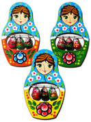 Matryoshka Wooden Refrigerator Magnet (Pack of 3)