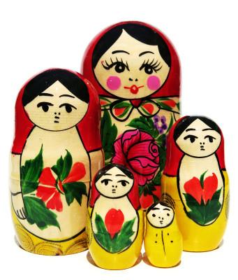 Babushka Semenov 5-Piece Russian Matryoshka Doll in Yellow and Red