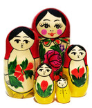 Babushka Semenov 5-Piece Russian Matryoshka Doll in Yellow and Red