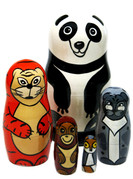 "Panda Bear And Asian Animals 5-Piece 4.5"" Russian Nesting Doll"