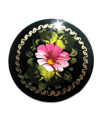 "Round Russian Lacquer Broach ""Pink Flower"""