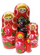 Red set of 5 stacking sisters Russian babushka dolls