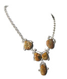 Natural Jasper 925 Silver Necklace With Five Links Main View