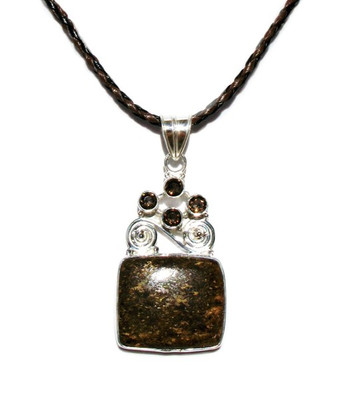 Bronzite Smokey Topaz Pendant In 925 Sterling Silver Main View