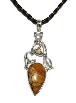 Brecciated Mookaite Pendant In 925 Sterling Silver Main View