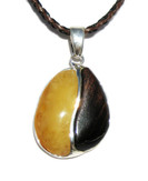 Day Night Artisan Baltic Amber Petrified Wood Pendant