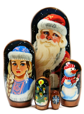Merry Christmas 5-Piece Nesting Doll