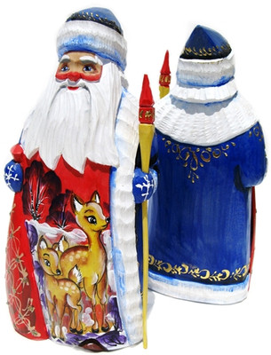 Russian Santa with Deer Painting