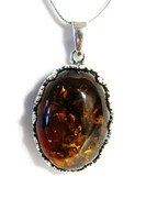 Mary Cognac Baltic Amber Silver Pendant