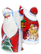 Russian Hand Painted Wood Carved Santa Holiday Decor