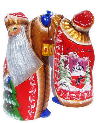 Russian Church Hand Carved Wooden Santa