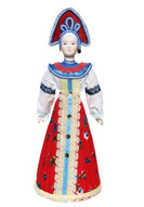 "Large Russian Porcelain Costume Doll ""Alyonka"" Front View"