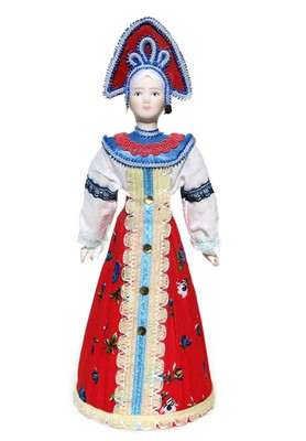 """Large Russian Porcelain Costume Doll """"Alyonka"""" Front View"""