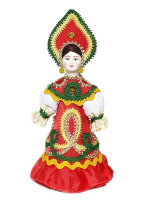 """Russian Porcelain Costume Doll """"Rainbow"""" Front View"""