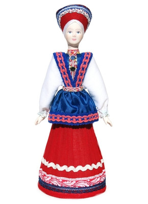 "Large Russian porcelain doll ""Barbara"" front view"