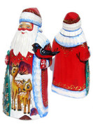 Deer Hand Carved Wooden Santa in Red