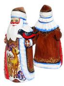 Deer Hand Carved Wooden Santa in Brown
