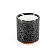 Grainy Black Tea Cup with White Interior