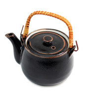 Glossy Black Teapot with Brown Trim 32 oz