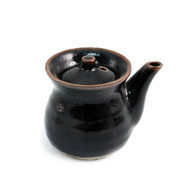 Glossy Black Soy Sauce Dispenser with Brown Trim