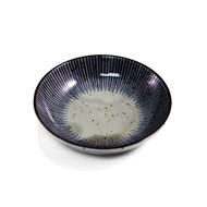 "Soy Sauce Dish with Blue Stripe Trim 3.9"" dia"