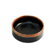 "Glossy Black Deep Soy Sauce Dish with Brown Trim 3.5"" dia"