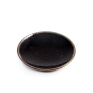 """[Clearance] Glossy Black Soy Sauce Dish with Brown Trim 4"""" dia"""