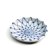 "Blue Woven Flower Soy Sauce Dish 3 3/4"" dia"