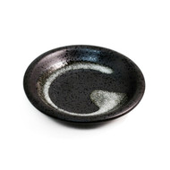 "Grainy Black Soy Sauce Dish with Brushstroke 3 3/4"" dia"