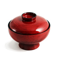 "Red Gotonuri Soup Bowl with Lid 4 3/4"" dia"