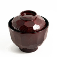 "Textured Red Soup Bowl with Lid 4"" dia"