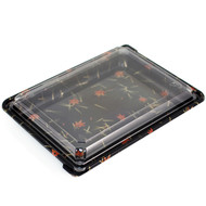"SUSHI-08 Momiji Leaf Take Out Sushi Tray 10 3/8"" x 7 7/8"" (50/pack)"
