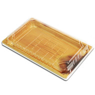 "TZ-015 Wood Pattern Take Out Sushi Tray 8.5"" x 5.4"" (50/pack)"