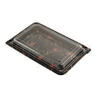 "SUSHI-07 Momiji Leaf Take Out Sushi Tray 9 7/8"" x 6 1/4"" (50/pack)"