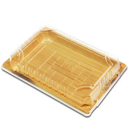 "TZ-F-010 Wood Pattern Take Out Sushi Tray 7.4"" x 5.3"" (60/pack)"