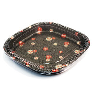 "TZ-200S Rounded Square Momiji Leaf Take Out Platter 12 1/2"" (20/pack)"