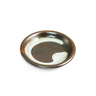"Grainy Brown Soy Sauce Dish with Brushstroke 3 3/4"" dia"