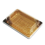 "TZ-F-008 Wood Pattern Take Out Sushi Tray 6 1/2"" x 4 1/2"" (55/pack)"