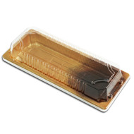 "TZ-F-001 Wood Pattern Take Out Sushi Tray 8 3/4"" x 3 3/4"" (50/pack)"