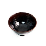 "Melamine Black Rice Bowl with Brown Trim 4.72"" dia"