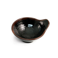 "Melamine Black Tonsui Bowl with Brown Trim 4.92"" dia"