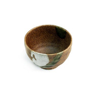 "Brown Bowl with Moss Green Design 4 1/3"" dia"