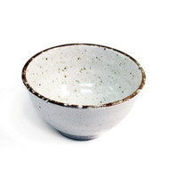 "Ivory Rice Bowl with Brown Trim 4.72"" dia"