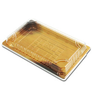 "TZ-020 Wood Pattern Take Out Sushi Tray 9 1/2"" x 5 7/8"" (60/pack)"