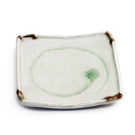 "Plate with Green Swirl 6 1/4"" x 6 1/4"""