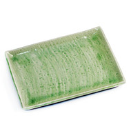 "Cracked Jade Green Rectangular Plate 10.59"" x 7.87"""