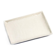 "Textured Glossy White Rectangular Plate 10 1/2"" x 7 1/2"""