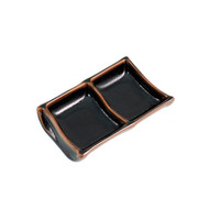 "2 Compartment Glossy Black Plate with Brown Trim 5.79"" x 3.66"""