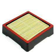 Black Soba Seiro Plate with Red Trim