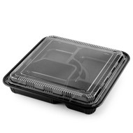 "TZ-307-K Black Take Out Bento Box 10.4"" x 10.4"" (50/pack)"